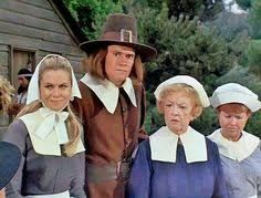 """On """"Bewitched"""", thanks to another of Aunt Clara's misbegotten spells, the Stephenses and nosy neighbor Gladys Kravitz are whisked back to 17th century Plymouth for the Pilgrims' first Thanksgiving. Predictably, the founding fathers - including John Alden, Miles Standish and a fictional character named Phineas - suspect that there is sorcery afoot. Less predictably, it is hapless Darrin who is accused of being a witch. """"Samantha's Thanksgiving to Remember"""" first aired on November 23, 1967."""