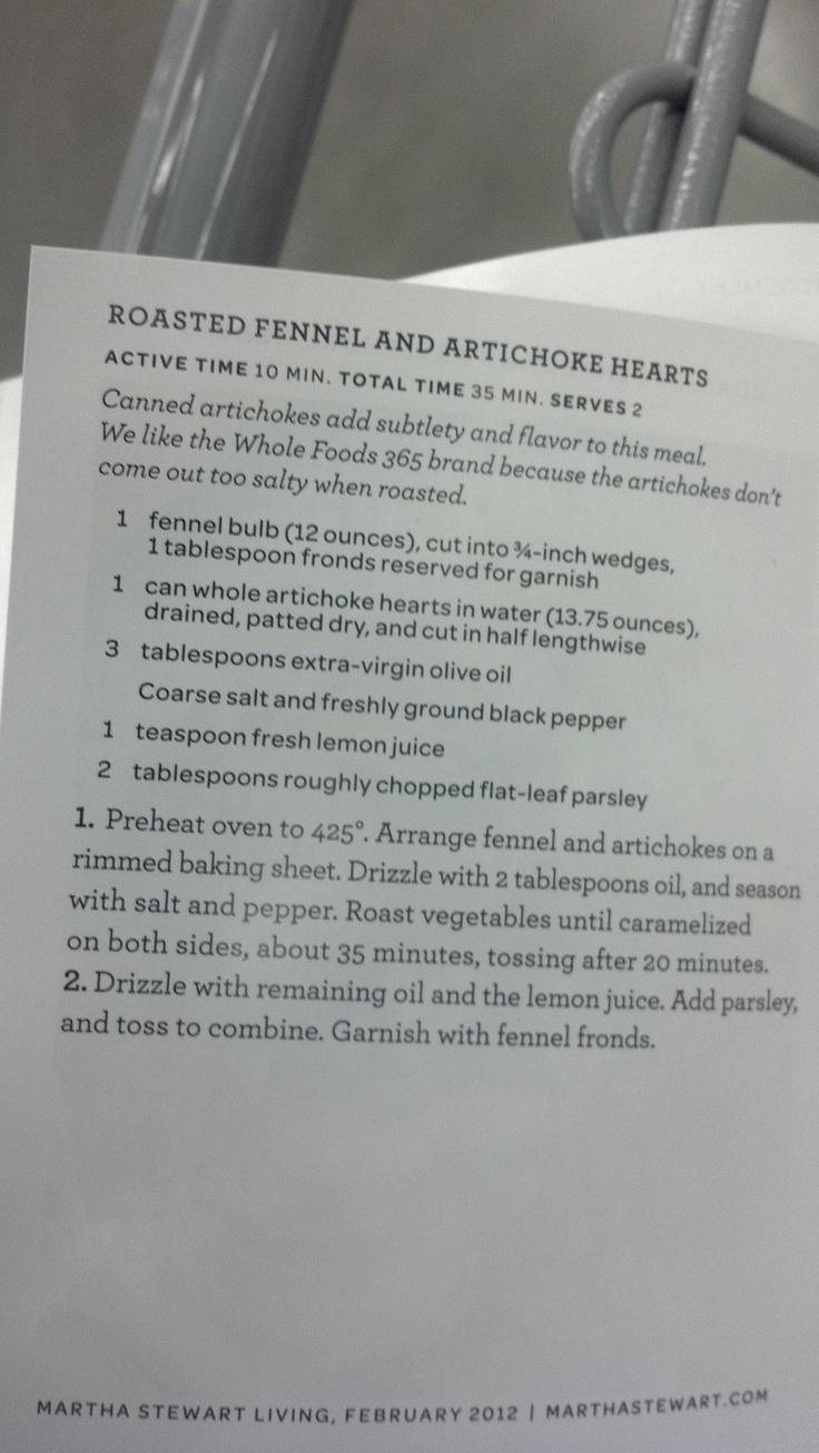 roasted fennel & artichoke hearts recipe!