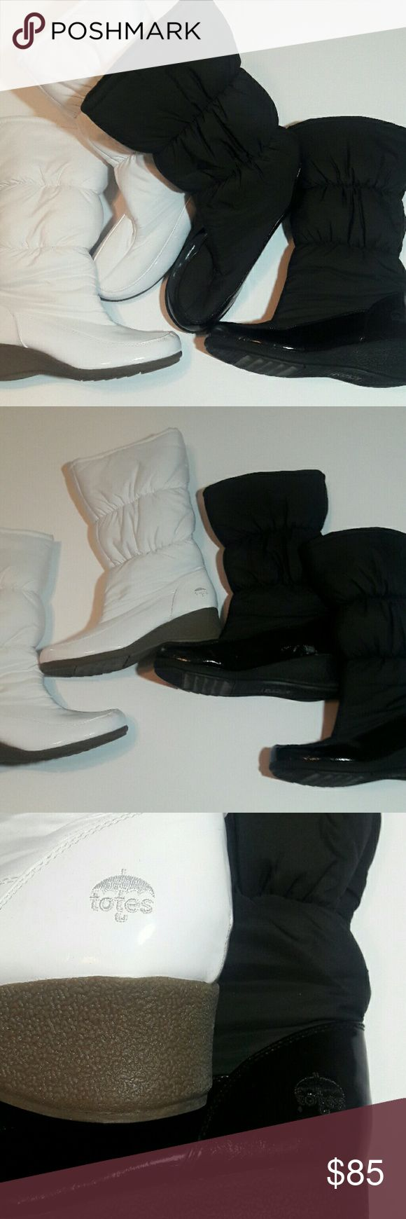 TOTES All Weather Footwear TOTES All Weather Footwear BRAND. Selling as set. Both Like New  ( Worn twice) Both Size 11. Material posted in photo. Not too familiar with this Brand. White Boots with Tan sole.  BLACK ON black boots. TOTES All Weather Footwear Shoes Winter & Rain Boots