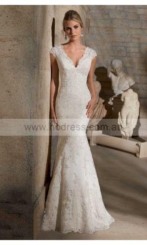 sku:afbf1041; Silhouette:Sheath; Hemline:Floor-length; Fabric:Lace; Back Details:Buttons; Neckline:Deep V-neck; Waist:Empire; Colour:White; Sleeve Length:Cap Sleeves;