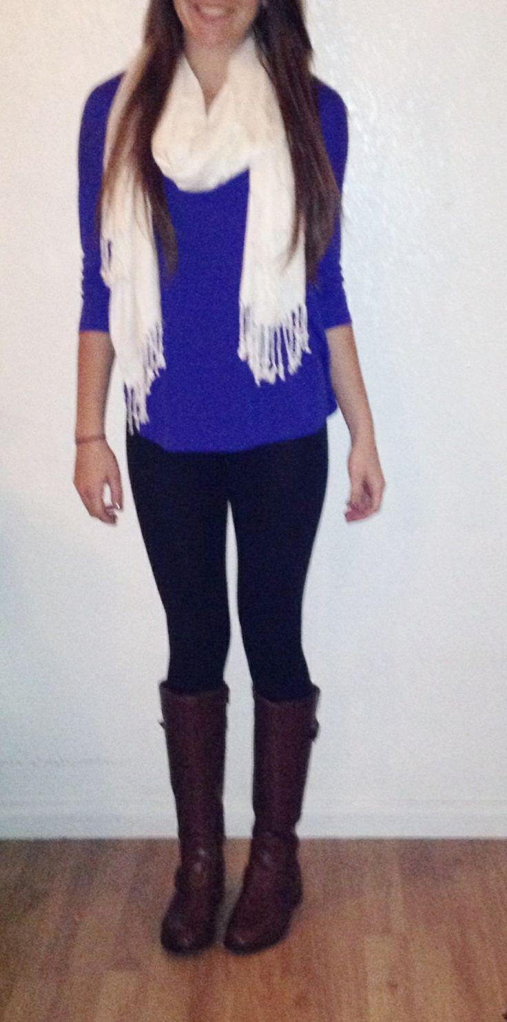 Blue shirt + white scarf + black leggings + brown riding ...