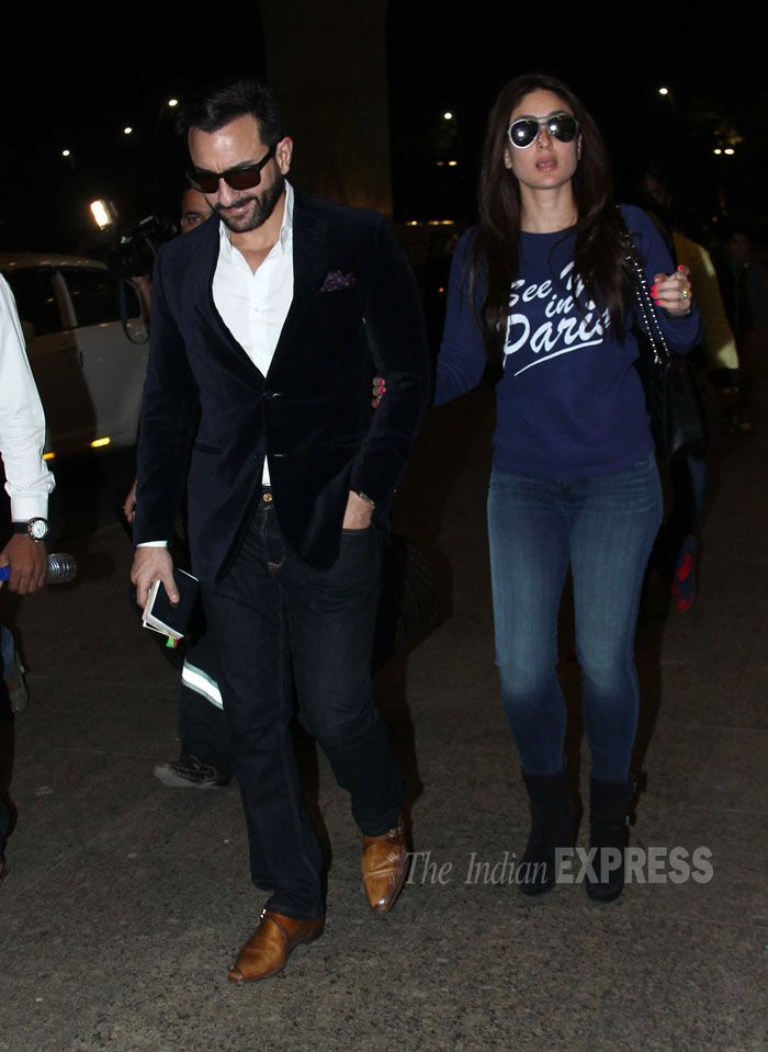 Saif Ali Khan and Kareena Kapoor were spotted at the Mumbai airport.