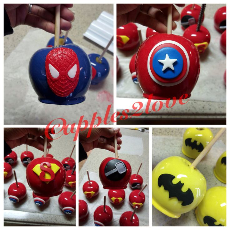 Superheroes themed party! #candyapples #apples2love #partyfavors #superheroes…