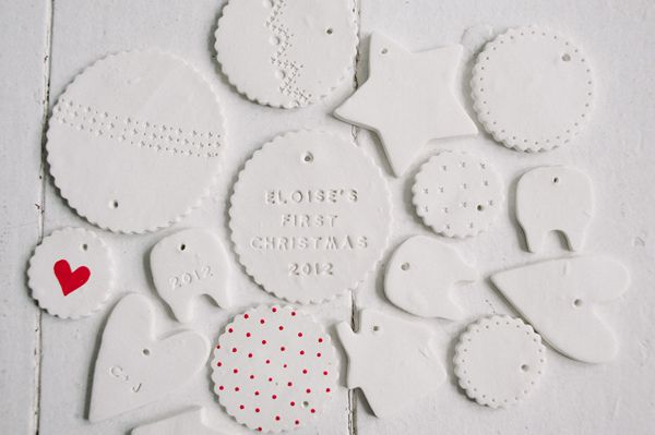 making ornaments by @Celine Kim (tutorial: http://www.abeautifulmess.com/2012/12/make-your-own-clay-ornaments.html#)