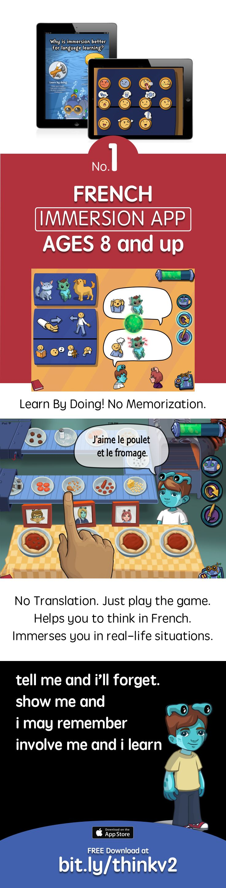 Learn French using the first ever Immersion app Free download https://itunes.apple.com/us/app/apple-store/id984967146?pt=1948807&ct=think4&mt=8