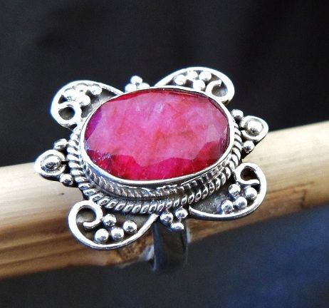 * ROYAL RUBY RING * * Sterling Silver * * Size 7 3/4 *