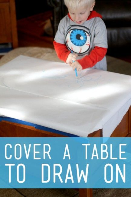 A simple art prompt to set out for the young kids to get creative and draw right on the table. Be creative and find a fun place to set it up...