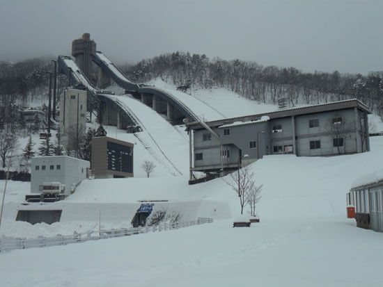 Olympic Ski Jump in Habuba, Japan  http://www.cheapojapan.com/cheap-snowboarding-and-amazing-mountains-hakuba-report/ #travel #holiday #snow #ski #snowboard