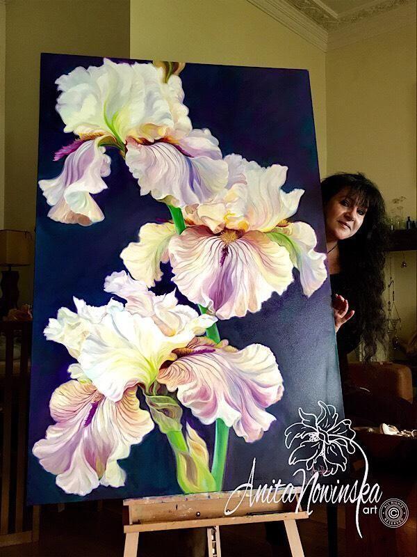 Ascendency Big Iris Flower Painting In 2020 Flower Painting Canvas Iris Painting Oil Painting Flowers