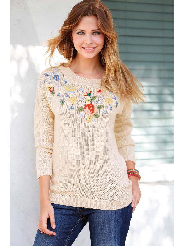 Jersey mujer manga larga con bordado tricot Esta temporada se lleva lo artesanal. Vive tu lado más natural con este favorecedor jersey de escote
