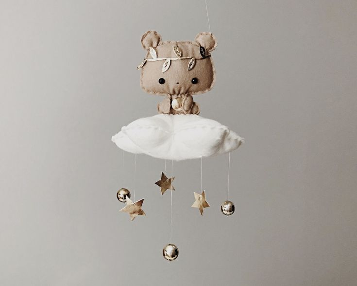 Bear Baby Mobile. Golden Nursery Decor. Unique & Handmade Baby Gift . Coming soon. Bythemoondesign £39 bythemoon.co.uk