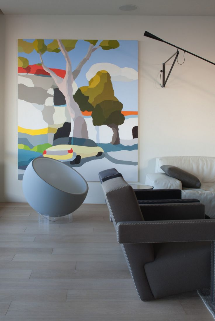 michael muir art, paint by numbers,  gray bowl chair, modern, living with art, love.