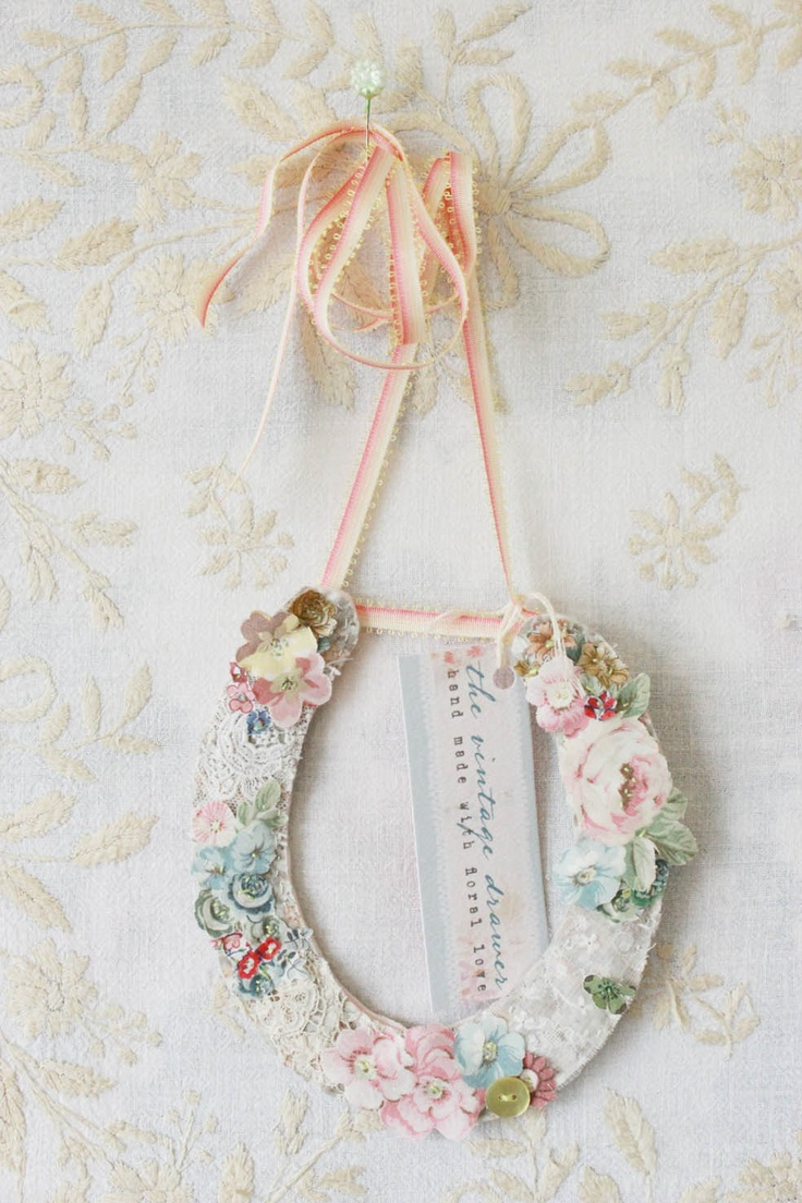 Wedding lucky horseshoe made from vintage lace and fabric