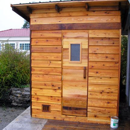 4'x6' Outdoor Sauna Kit + Heater + Accessories + Slant Roof