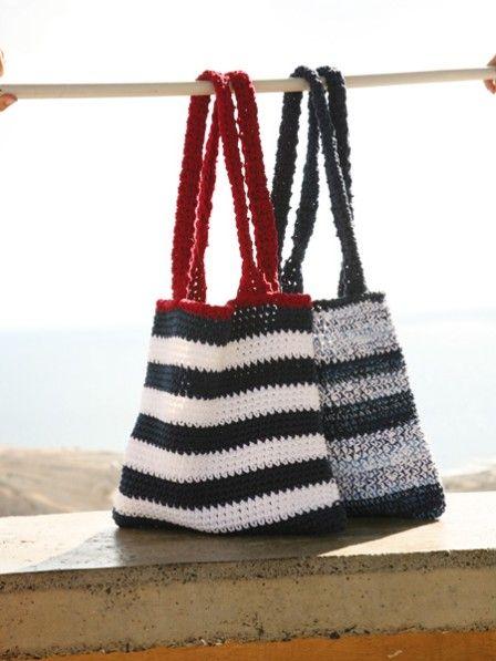 Ob als Strantasche für den Urlaub, als täglicher Begleiter im Büro oder zum Einkaufen - diese zwei Stricktaschen sind echte Allroundtalente.