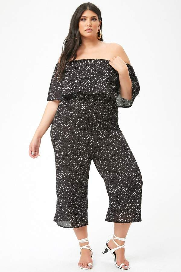 99fa51711c94 Forever 21 Plus Size Polka Dot Culotte Jumpsuit