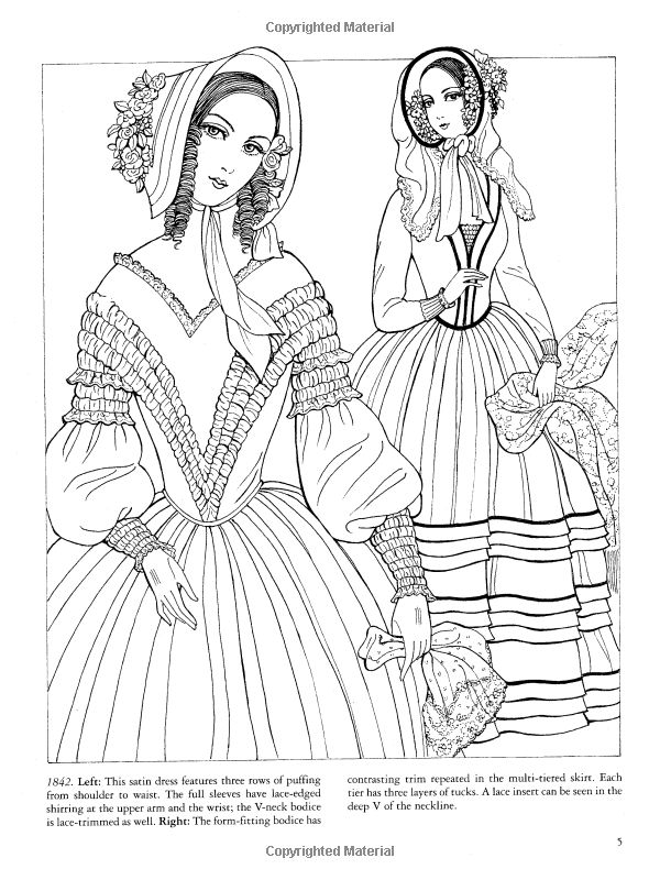 Godeys Fashions Coloring Book Dover Fashion Ming Ju Sun
