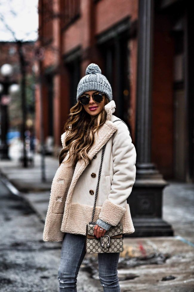 22 DEC, 2017 Weekend Sale Picks - Outfit Details: MOTHER Faux Shearling Coat Kendall + Kylie Sweater Similar Gray Jeans Similar Beanie Gucci Mini Dionysus Bag Karen Walker Sunglasses Alexander Wang 'Gia' Booties