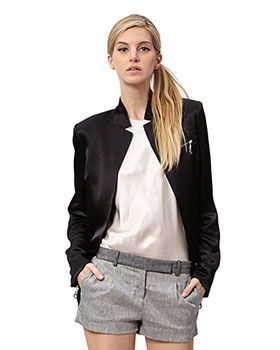 All Business On Top! Sleek Satin Blazer In Black By L.A.M.B. Designer Fashion Gewn Stefani Celebrity No Doubt Hair Make-Up Jewellery  Trend Alert 2015 Zippers Shorts White T-Shirt Ponytail  shoplamb.com
