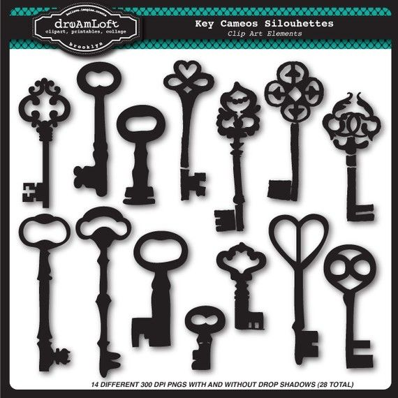 Skeleton Key Cameos Silhouettes Clip Art Elements Collage Sheet for cards, stationary, invitations, scrapbooking and all paper crafts