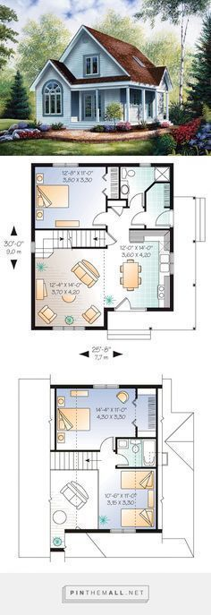 Cabin Style House Plan Number 64983 with 2 Bed, 2 Bath