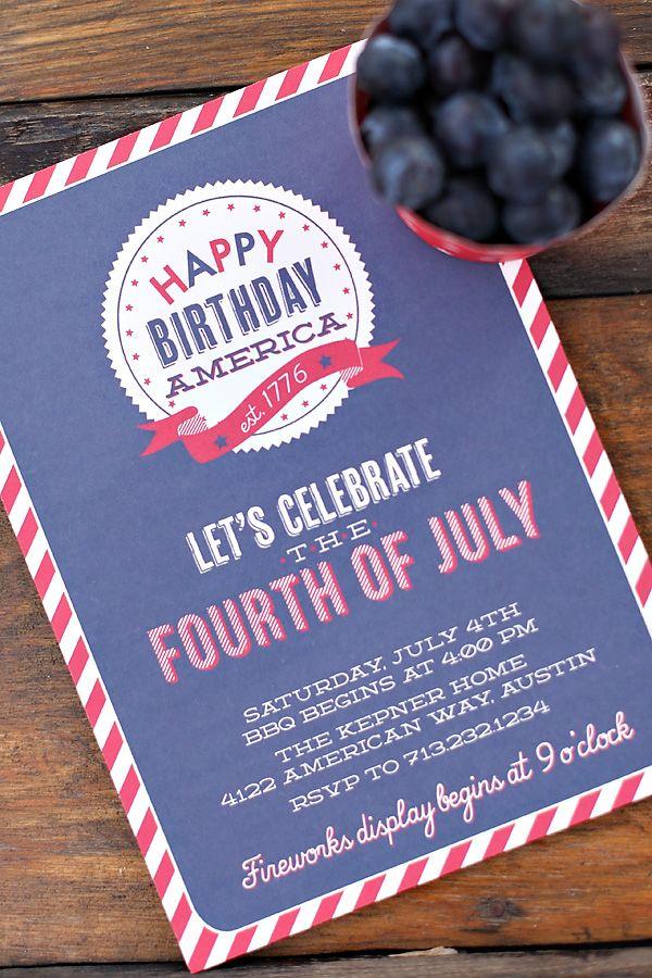Happy Birthday America 4th of July Picnic Invitation