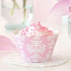 Damask Pink Cupcake Wrappers