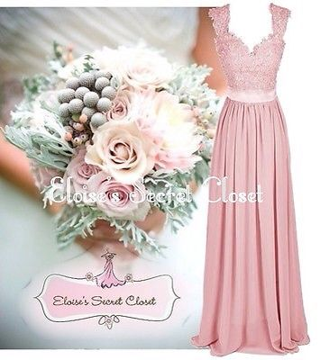 Dusky pink lace chiffon maxi bridesmaid dress UK sizes 6-18 £79.99 from Eloise's Secret Closet, EBay
