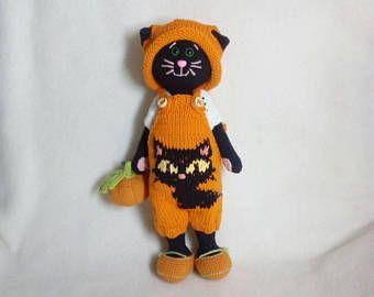 Bambola Amigurumi halloween / animali giocattolo / uncinetto giocattolo gatto nero / Handmade toy / maglieria giocattolo animali giocattolo / halloween gattino giocattolo