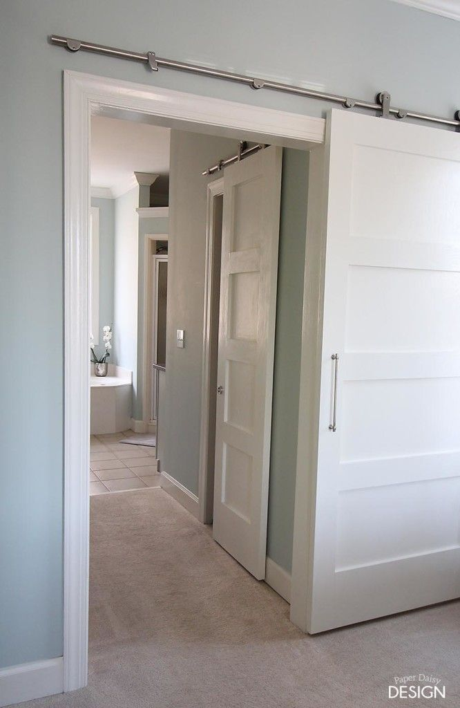 Build it: Contemporary 4-Panel Barn Door for $50, with the link to buy the hardware used! :}