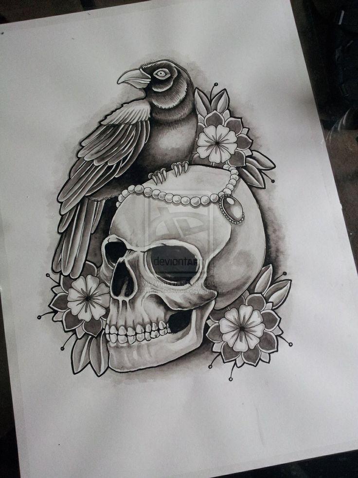 crow skull tattoo drawing skulls tattoos pinterest tattoo drawings skulls and drawings. Black Bedroom Furniture Sets. Home Design Ideas
