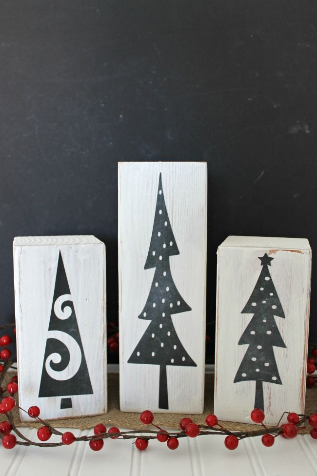 Have you ever tried chalkboard paper? This secret ingredient adds a special touch to this display of decoupage DIY Christmas trees!