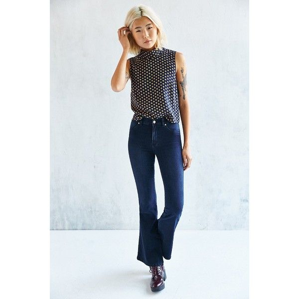 Dr. Denim Brigitte Flare Jean - Midnight Blue ($80) ❤ liked on Polyvore featuring jeans, rinsed denim, faded jeans, stretch jeans, skinny flare jeans, flared jeans and stretch flare jeans