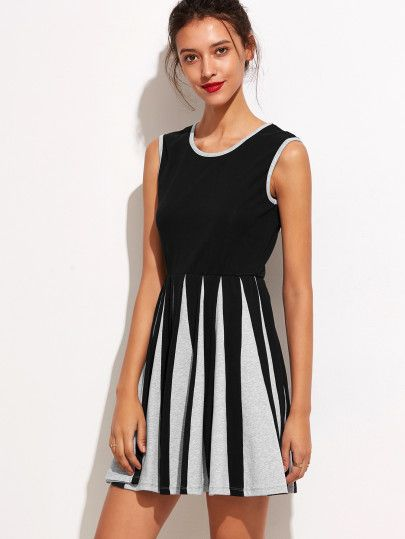 Shop Contrast Striped Panel A Line Tank Dress online. SheIn offers Contrast Striped Panel A Line Tank Dress & more to fit your fashionable needs...THIS WOULD BE SO CUTE WITH A JACKET AND BOOTS FOR FALL/WINTER