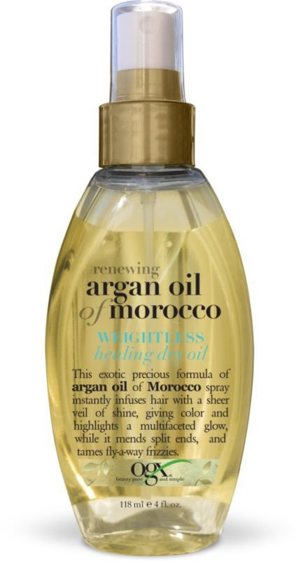 OGX Moroccan Argan Oil Weightless Healing Dry Oil >> This product smells amazing, along with the whole line. This dry oil locks in shine and leaves my hair weightless and non-greasy, soft and also helps with split ends and protects from breakage and heat styling. I saw great results on both damp and dry hair.