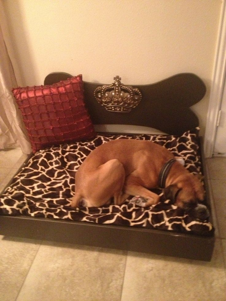 So hard to find large dog beds that look good in the house, so I made one and decorated it! My dog loves it!