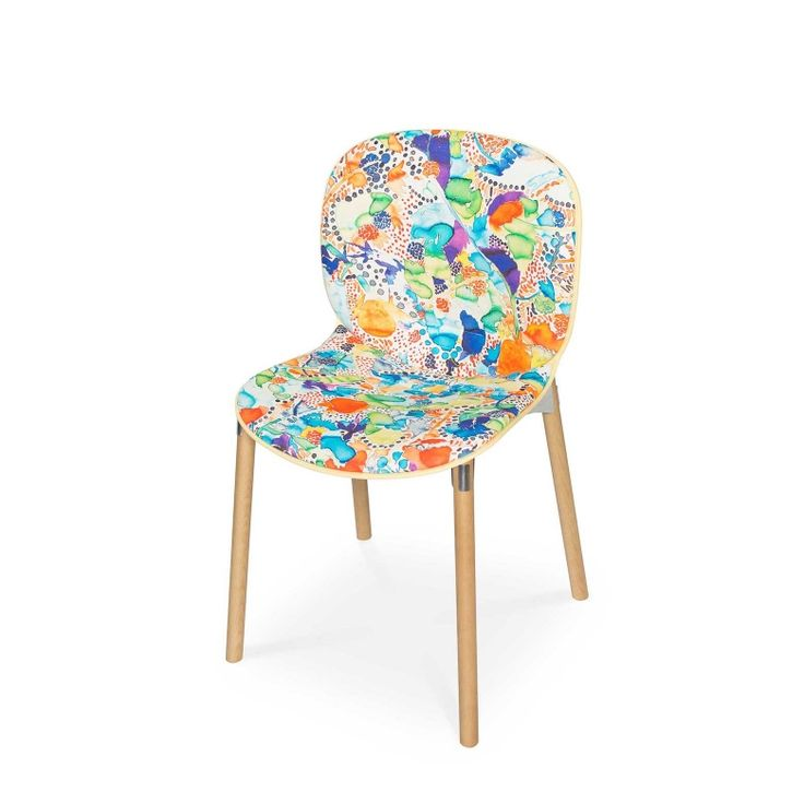 RBM Noor chair x La Cueillette in Cocktail | Light wood by Claire de Quénetain | FEATHR™    Featuring La Cueillette fabric, a stunning and beautiful modern floral fabric, that brings the vibrancy of the French harvest to your home.
