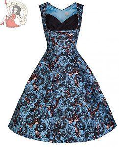Lindy-Bop-50s-Ophelia-Parisian-Blu-Rosa-Vestito-Stile-Vintage-Floreale