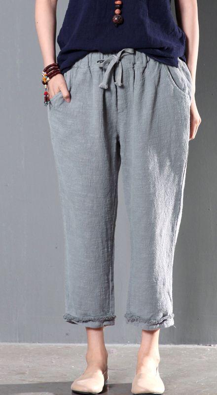 Gray linen women pants oversize trousers