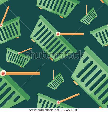 Shopping basket flat icon seamless pattern. #vectorpattern #patterndesign #seamlesspattern
