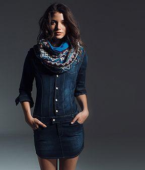 Denim dress with etno scarf