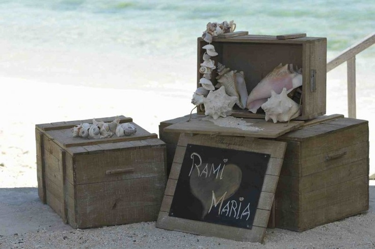 Simple beach wedding welcome station