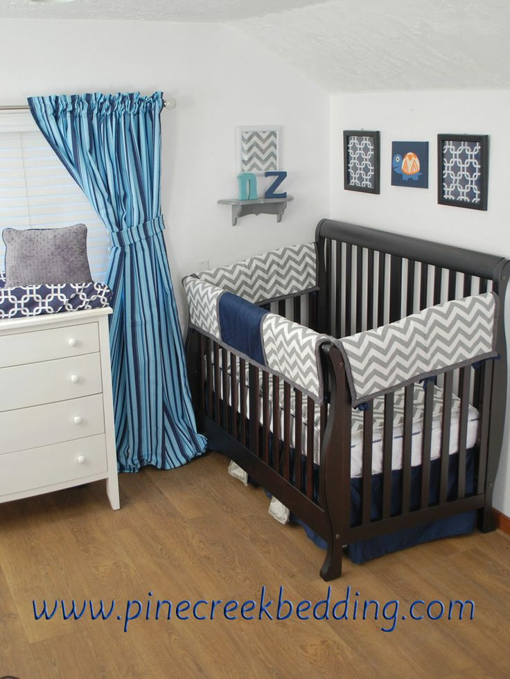 Grey Chevron And Navy Crib Rail Guards With Orange Accents