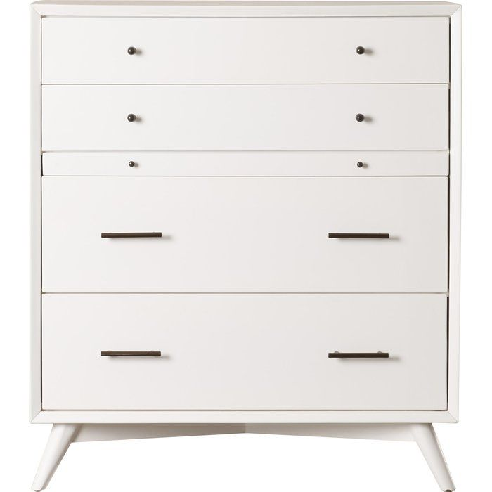 Featuring a midcentury-inspired design, this 4-drawer dresser is a versatile piece that offers much more than stowing sweaters and socks. Use it to craft an unexpected dining room vignette complete with a trinket tray, 2-tiered fruit basket, and bold lamp while effortlessly organizing linens, flatware, and table accessories.