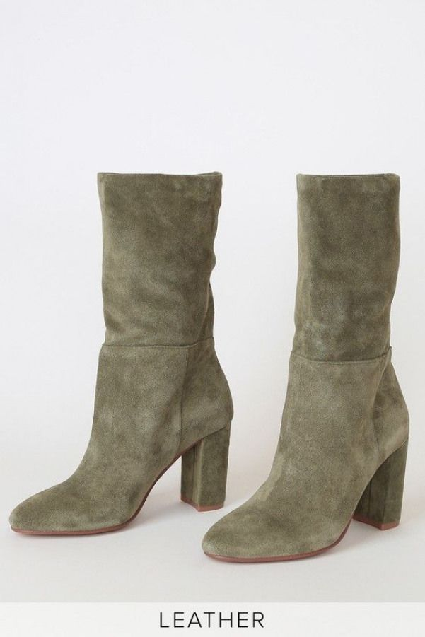 Lulus Keep Up Willow Green Genuine Suede Leather Mid Calf High