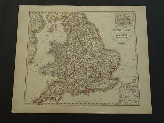 ENGLAND WALES map 1859 original beautiful old by VintageOldMaps