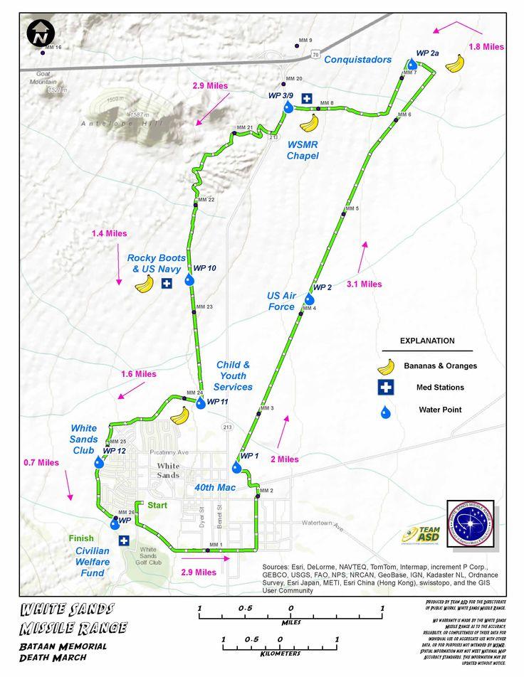 bataan memorial death march route 26 2 miles bataan memorial route 14 ...