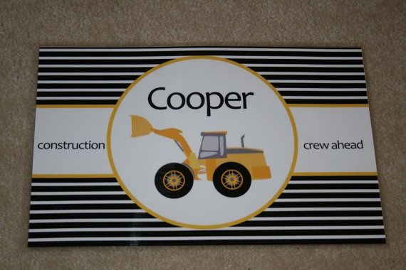 Personalized Construction Placemat by sweetmadygifts on Etsy, $18.00