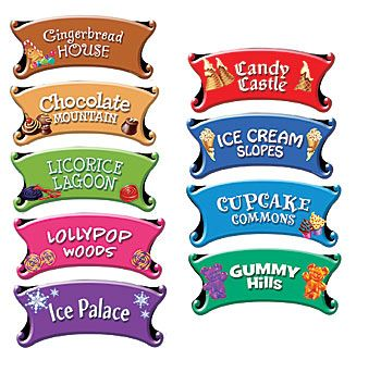 These Candy Land Directional Signs will shows us all the important places in the world of Candy Land.