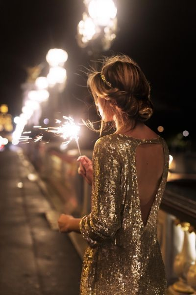Gold sequin dress with a plunging back! So cute! Potential New Years Eve outfit idea.